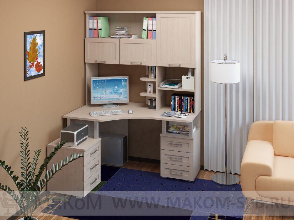 большой угловой компьютерный стол фото соло 025 и надстройка 026